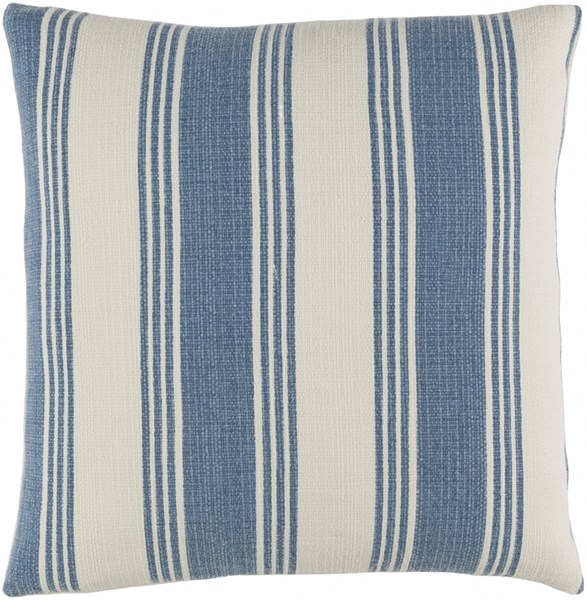 Anchor Bay Cobalt Ivory Poly Cotton Throw Pillow (L 22 X W 22 X H 5) ACB001-2222P