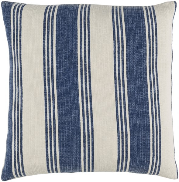 Anchor Bay Navy Ivory Poly Cotton Throw Pillow (L 22 X W 22 X H 5) ACB004-2222P