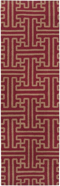 Archive Burgundy Olive Wool Runner - 30 x 96 ACH1701-268