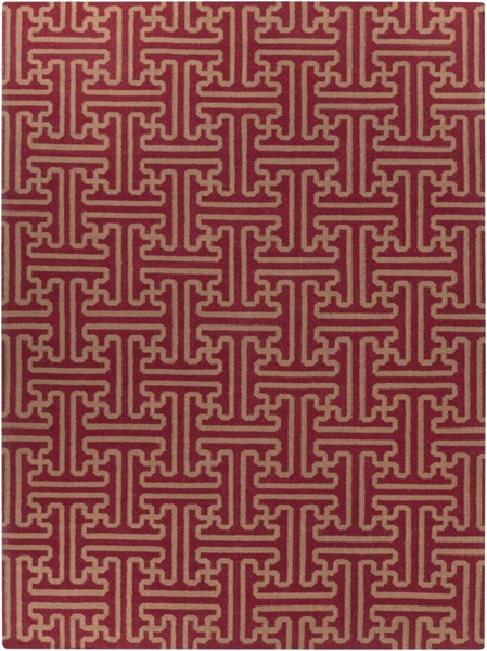 Archive Burgundy Olive Wool Area Rug - 96 x 132 ACH1701-811