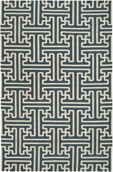 Archive Teal Ivory Wool Area Rug - 60 x 96 ACH1708-58