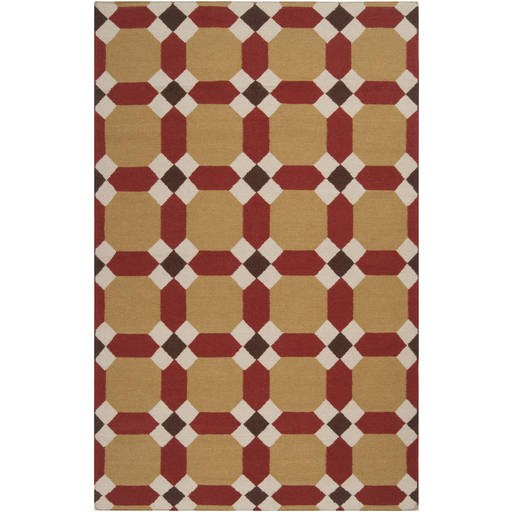 Archive Dark Brown Red Wool Archive Flat Pile Rectangle Wool Rug ACH1715-VAR