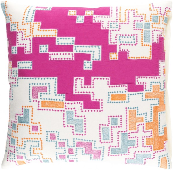 Macro Magenta Ivory Tangerine Cotton Throw Pillow (L 22 X W 22 X H 5) ACR002-2222P