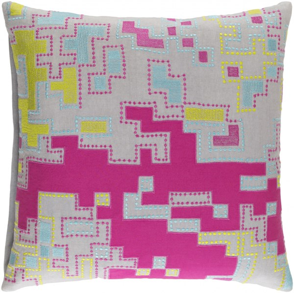 Macro Pink Lime Gray Cotton Throw Pillow (L 20 X W 20 X H 5) ACR003-2020D