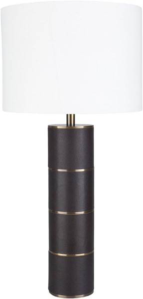 Surya Andrews Dark Brown White Leather Table Lamp - 14x28 ADS-001