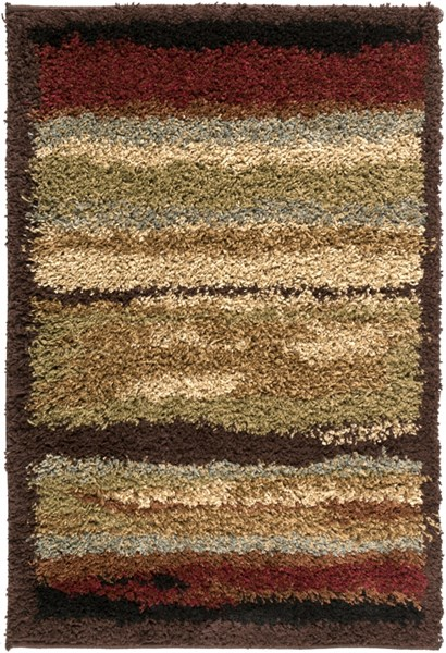 Alfredo Contemporary Chocolate Olive Burgundy Polypropylene Area Rugs 1752-VAR1