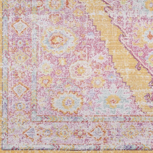 Surya Antioch Bright Pink Yellow Purple Saffron Polyester Area Rug 18x18 The Classy Home