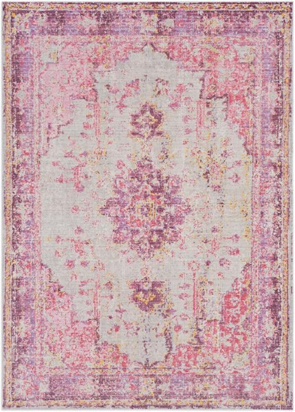 Surya Antioch Bright Pink Gray Lavender Purple Polyester Area Rug - 126x94 AIC2305-710106