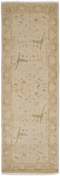 Ainsley Traditional Light Gray Beige Wool Runner (L 96 X W 30) AIN1000-268