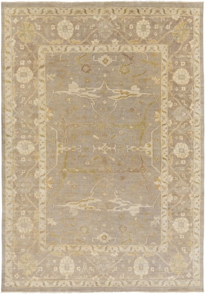 Ainsley Traditional Light Gray Beige Wool Area Rug (L 156 X W 108) AIN1000-913