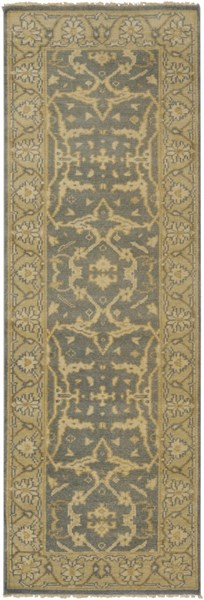 Ainsley Traditional Slate Gold Beige Wool Runner (L 96 X W 30) AIN1010-268