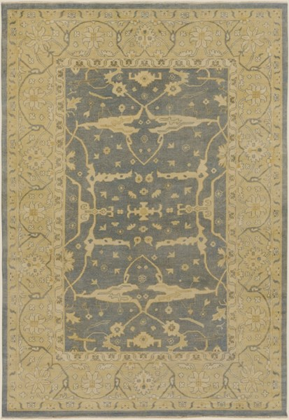 Ainsley Traditional Slate Gold Beige Wool Area Rug (L 156 X W 108) AIN1010-913