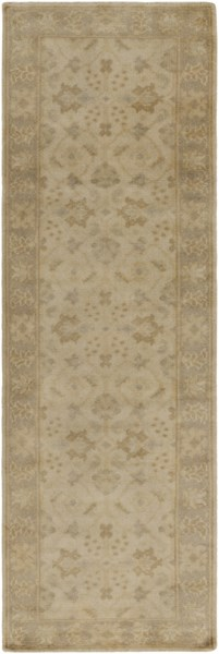 Ainsley Contemporary Beige Sky Blue Wool Runner (L 96 X W 30) AIN1017-268