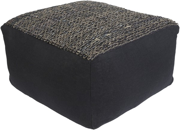 Surya Aija Black Dark Brown Woven Pouf - 13x24 AJPF001-242413