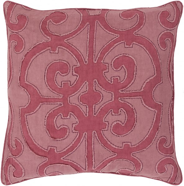 Amelia Salmon Magenta Linen Down Throw Pillow - 18x18x4 AL001-1818D