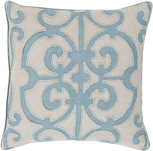 Amelia Sky Blue Light Gray Linen Down Throw Pillow - 22x22x5 AL002-2222D