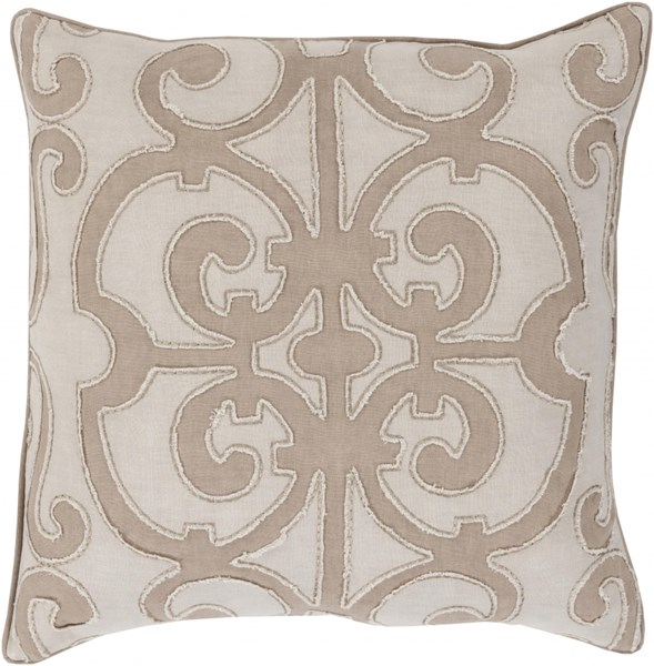 Amelia Taupe Light Gray Linen Down Throw Pillow - 18x18x4 AL005-1818D