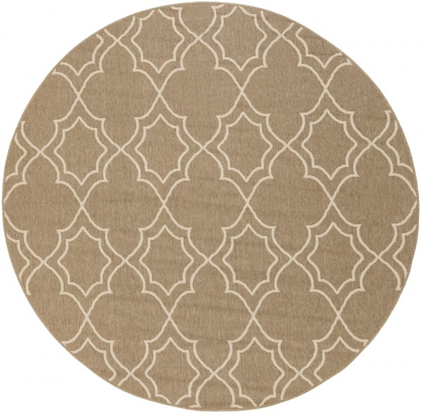Alfresco Taupe Polypropylene Round Power Loomed Area Rug (L 87 X W 87) ALF9587-73RD