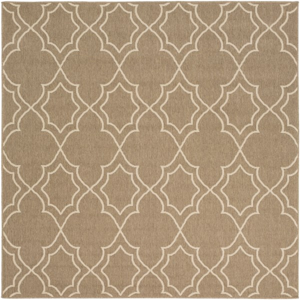 Alfresco Beige Polypropylene Square Geometric Area Rug (L 87 X W 87) ALF9587-73SQ