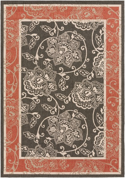 Alfresco Black Beige Cherry Polypropylene Area Rug (L 90 X W 63) ALF9592-5376
