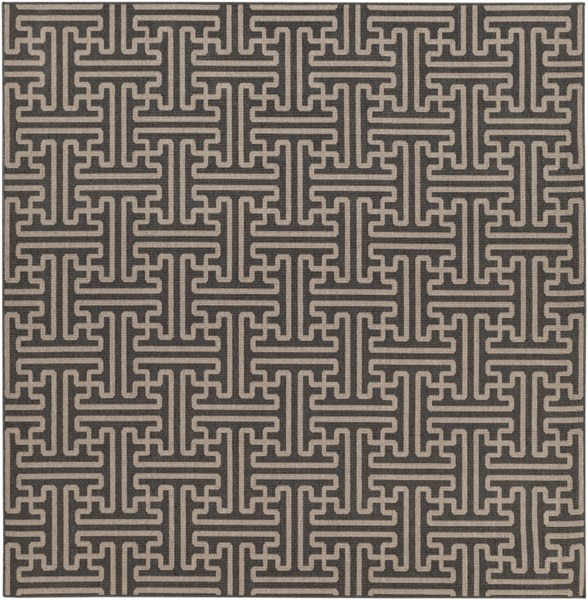 Alfresco Black Taupe Polypropylene Area Rug (L 105 X W 105) ALF9604-89SQ
