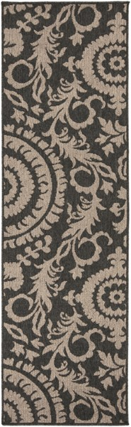 Alfresco Contemporary Black Taupe Polypropylene Runner (L 93 X W 27) ALF9615-2379