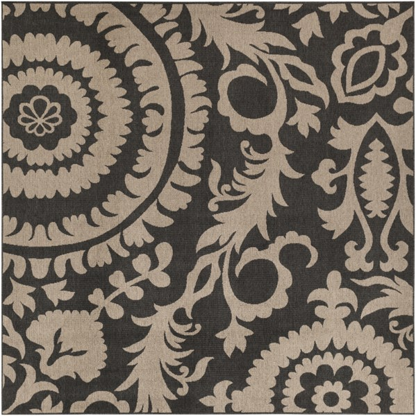 Alfresco Black Taupe Polypropylene Square Area Rug (L 105 X W 105) ALF9615-89SQ
