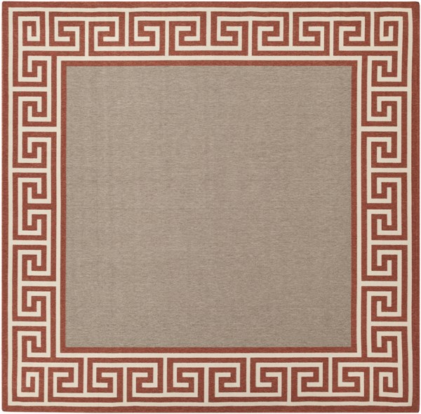 Alfresco Rust Taupe Beige Polypropylene Square Area Rug - 105 x 105 ALF9628-89SQ