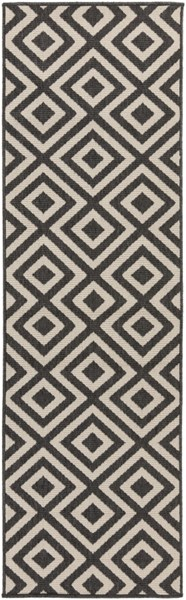 Surya Alfresco Cream Black Olefin Runner - 93x27 ALF9639-2379