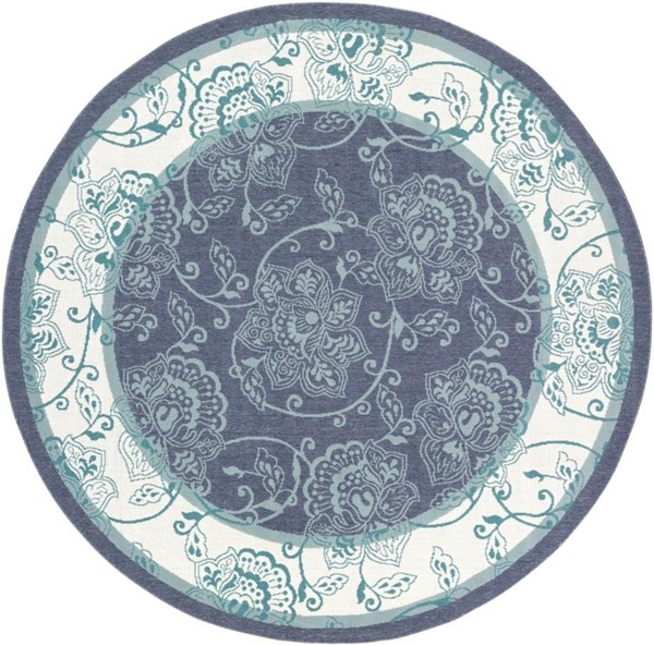 Surya Alfresco Charcoal White Teal Olefin Round Area Rug - 87x87 ALF9660-73RD