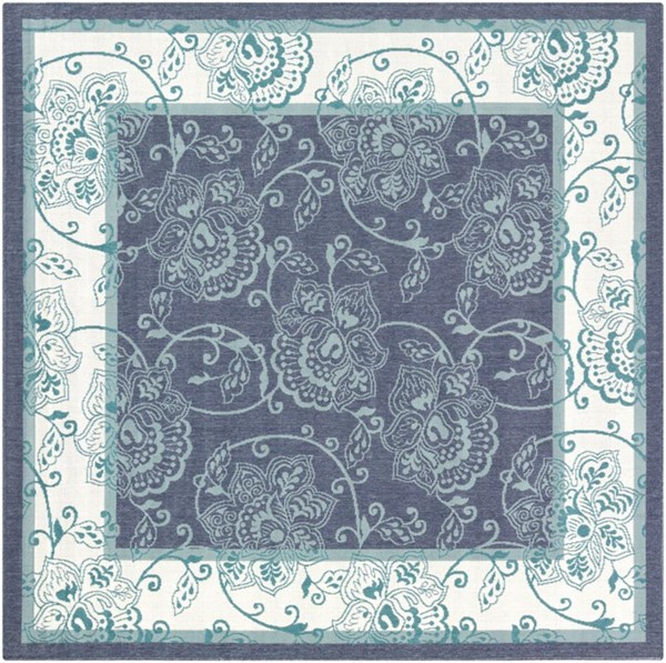 Surya Alfresco Charcoal White Teal Olefin Square Area Rug - 105x105 ALF9660-89SQ