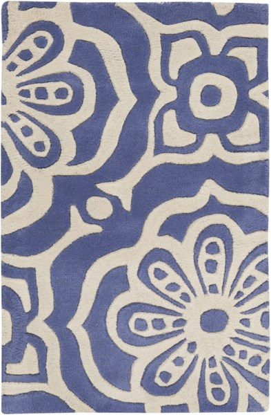 Alhambra Contemporary Cobalt Beige Wool Area Rug (L 36 X W 24) ALH5004-23