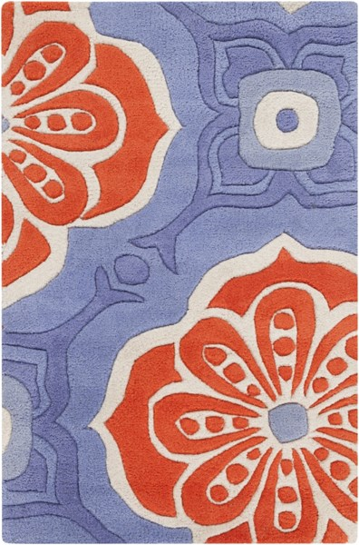 Alhambra Contemporary Cobalt Poppy Ivory Wool Area Rug (L 36 X W 24) ALH5006-23