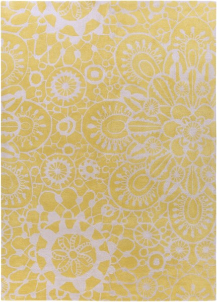 Alhambra Contemporary Gold Ivory Wool Area Rug (L 132 X W 96) ALH5011-811