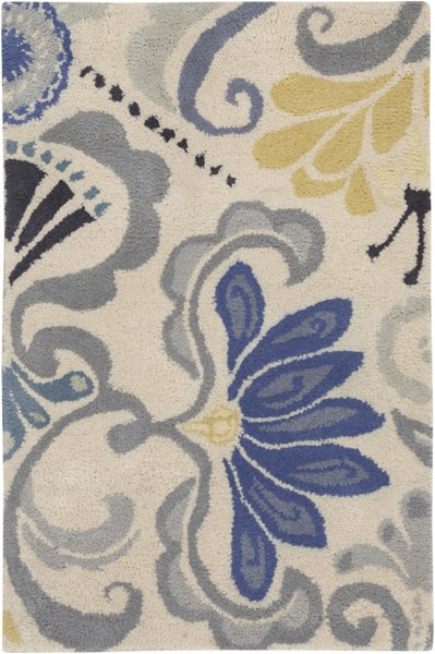 Alhambra Contemporary Ivory Slate Cobalt Wool Area Rug (L 36 X W 24) ALH5017-23