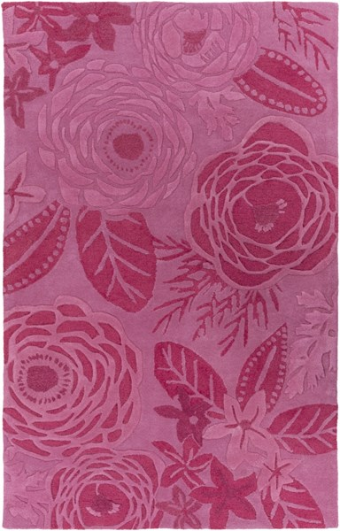 Alhambra Contemporary Hot Pink Carnation Olive Wool Area Rugs 12711-VAR1
