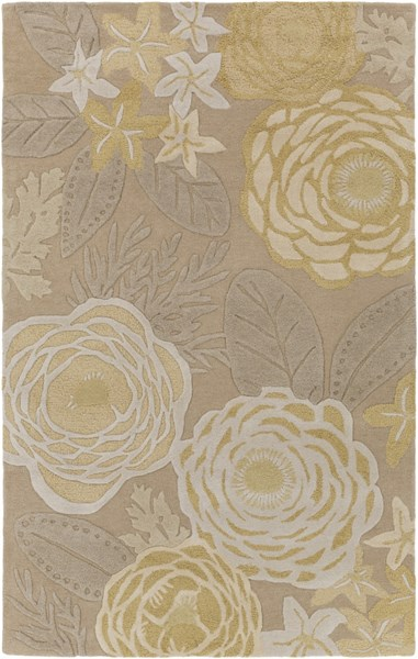 Alhambra Contemporary Lime Gray Olive Wool Area Rug (L 96 X W 60) ALH5035-58