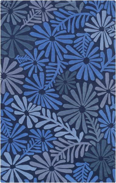 Alhambra Contemporary Cobalt Slate Blue Wool Area Rug (L 96 X W 60) ALH5040-58
