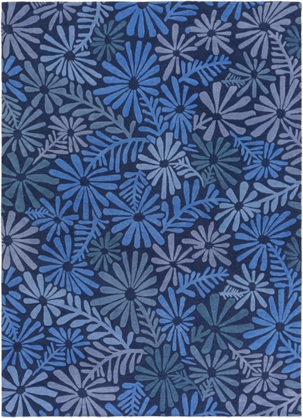 Alhambra Contemporary Cobalt Slate Blue Wool Area Rug (L 132 X W 96) ALH5040-811