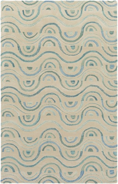 Alhambra Contemporary Gray Blue Teal Wool Area Rug (L 96 X W 60) ALH5042-58