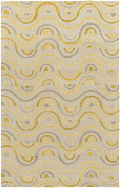 Alhambra Contemporary Butter Gray Gold Wool Area Rug (L 96 X W 60) ALH5043-58