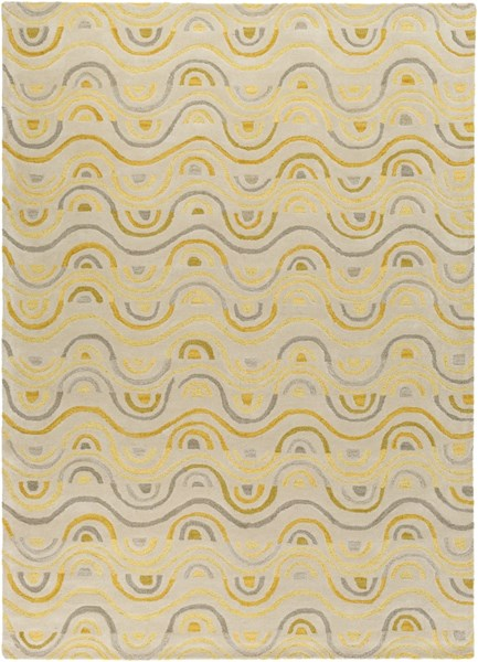 Alhambra Contemporary Butter Gray Gold Wool Area Rug (L 132 X W 96) ALH5043-811