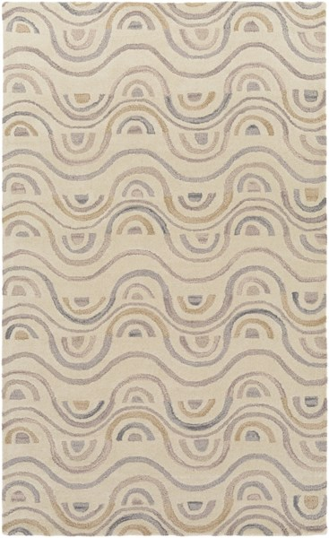 Alhambra Contemporary Gray Olive Mauve Wool Area Rug (L 96 X W 60) ALH5044-58