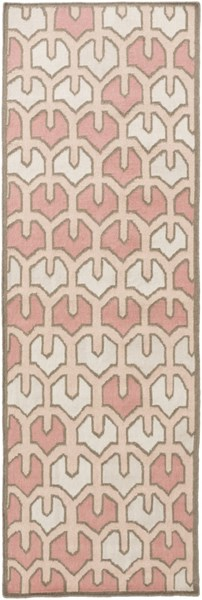Alameda Beige Salmon Light Gray Charcoal Wool Runner (L 96 X W 30) AMD1072-268