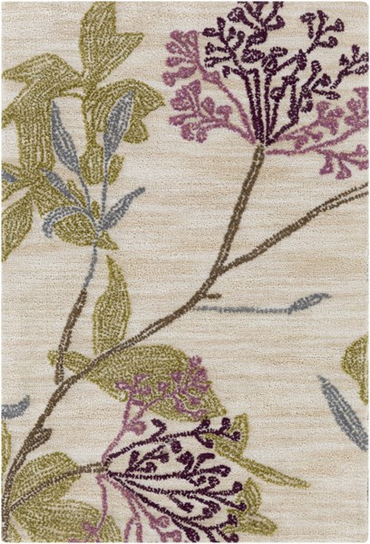 Ameila Contemporary Beige Eggplant Mauve Polyester Area Rugs 1758-VAR1