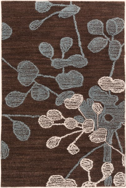 Ameila Black Chocolate Moss Ivory Polyester Area Rug - 24 x 36 AME2235-23
