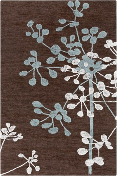 Ameila Black Chocolate Moss Ivory Polyester Area Rug - 60 x 90 AME2235-576