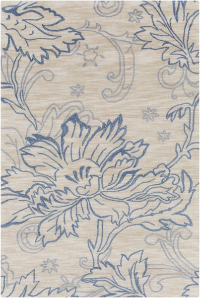 Ameila Beige Ivory Sky Blue Cobalt Polyester Area Rug (L 90 X W 60) AME2237-576