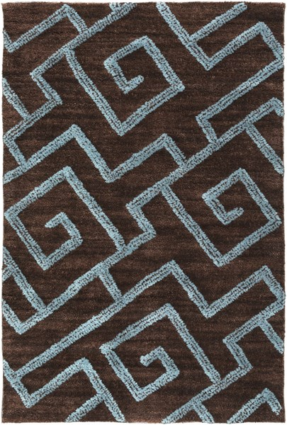 Ameila Contemporary Chocolate Teal Gray Polyester Area Rugs 1126-VAR1