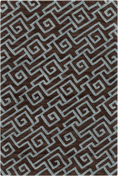 Ameila Contemporary Chocolate Teal Polyester Area Rug (L 90 X W 60) AME2240-576
